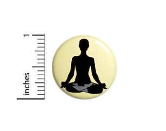 Yoga Button Backpack Bag Jacket Pin Cute Namaste Silhouette Peace and Love Calm Meditation Be Present 1 Inch #67-27