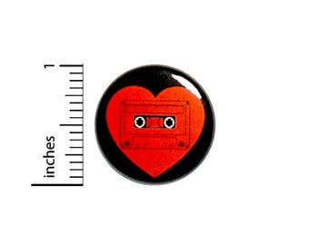 Cool Cassette Mix Tape Button Badge Love Heart Vintage Style Jacket Pin 1 Inch #50-17