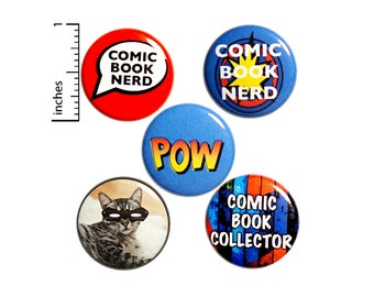 "Comic Book Buttons or Fridge Magnets // 5 Pack // Backpack Pins // Cute Pinbacks // Nerdy Badges // Lapel Pins // Geeky Gift Set 1"" P14-5"