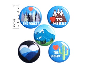 "Hiking Pin Gift Set, Pins for Backpack Set of 5, Buttons or Fridge Magnets, Cute Jacket Lapel Pins, Pin-Backs, Hiker Backpack Pins 1"" P49-3"