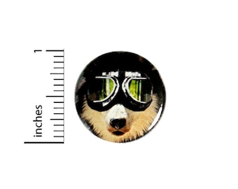 """Funny Dog With Goggles Pin Button or Fridge Magnet, Funny Dog Gift, Dog Wearing Goggles, Birthday Gift, Button Pin or Magnet, 1"""" 90-2"""