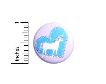Cute Unicorn Pin, Heart Pin, Adorable Lapel Pin, Pin for Backpacks or Magnet, Purple, Blue, Rainbow Unicorn, 1 Inch 95-4