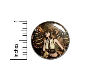 Steampunk Pinup Woman Button // Dieselpunk Pin// Backpack or Jacket badge pinback // 1 Inch 3-16