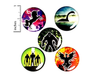 "Creature Buttons or Fridge Magnets, Geeky Gift Set, Alien Button, Bigfoot Pin, Unicorn Pin, Nessie, Phoenix, Cool Creatures Gifts 1"" #E2-2"