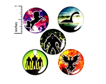 "Creatures Button 5 Pack of Backpack Pins Unicorns Bigfoot Aliens Phoenix Nessie Buttons Badges Lapel Pins Brooches Gift Set 1"" #E2-2"