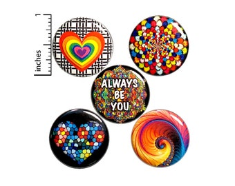 """Positive Saying Buttons or Fridge Magnets - Backpack Pins - Lapel Pins - Rainbow Brooch - Gift Set - Cute Magnets - 5 Pack - Gift 1"""" P40-3"""