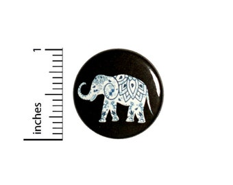 Mandala Elephant Button Backpack Pin  1 Inch #5-2