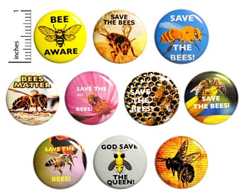 "Save The Bees Buttons (10 Pack) Endangered Honey Bees, Bee Awareness Pins, Cute Bee Backpack Pins or Fridge Magnets, Gift Set 1"" 10P14-1"