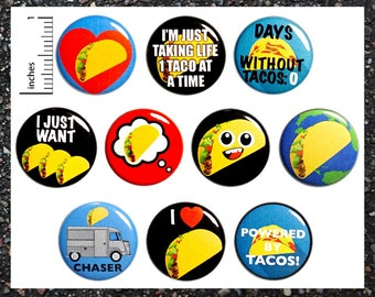 Funny Taco Buttons Lapel Pins for Jackets or Backpacks Badges I Love Tacos Taco Truck Chaser 10 Pack Cute Gift Set 1 Inch 10P9-2