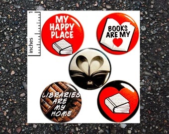 Reading Books Buttons Pins for Backpacks Cute Badges Brooches Lapel Pins Gift Set 1 Inch 5 Pack of Pinbacks P32-3
