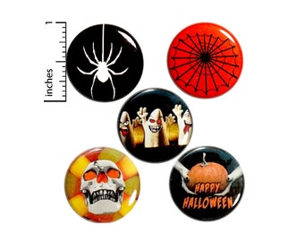 "Halloween 5 Pack Buttons Spider Web Ghost Party Favor Treat Bag Happy Halloween Backpack Pins Cool Cute Set 1"" P16-4"