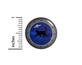 Funny Button Pin Cat Walking In Outer Space Portal Cute Rad Jacket Pinback Cool 1 Inch #61-9 -