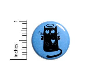 Angel Kitty Cute Cat Button Heart Pin Jacket Backpack Pinback 1 Inch Gift #41-22