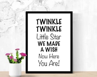 New Baby Sign, New Mom Gift, Twinkle Twinkle Little Star, Nursery Gift, Printable Sign, Cute Sign, New Baby Quote, Saying, Digital Wall Art