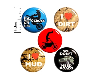 "Off-Road Buttons or Magnets - Dirt Bike Riding - Backpack Jacket Pins - Motocross - Extreme Sports - Motorcycle Magnets - 5 Pack 1"" P17-2"