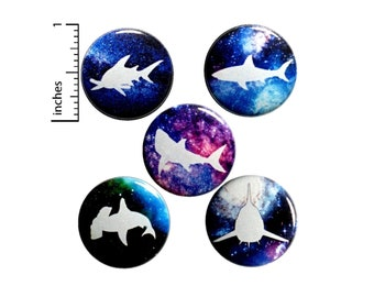 Space Sharks Buttons or Fridge Magnets - Space Pins - Pin for Backpack - Pinbacks or Magnets - Outer Space Gift - 5 Pack Set 1 Inch SP1-1