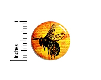 Bee Button Pin Vintage Style Save The Honey Bees Rad Jacket Backpack Pinback 1 Inch #54-27