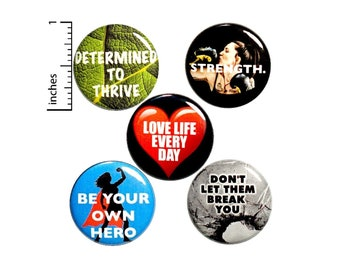"""Strong Women Pin for Backpack, Buttons or Fridge Magnets, Feminist Gift, Tough Women Pins, Pin or Magnet 5 Pack, Cool Gift Set 1"""" #P8-4"""