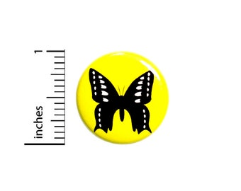 Butterfly Button Pretty Rad Backpack Pin Black Yellow Silhouette Unique Simple Small Gift Jacket Pinback 1 Inch #65-16