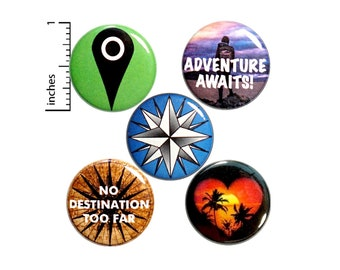 "Travel Buttons 5 Pack of Backpack Pins or Fridge Magnets Lapel Pins Brooches Badges Cute Accessories Pin Drop Button Traveler Gifts 1"" P27-2"