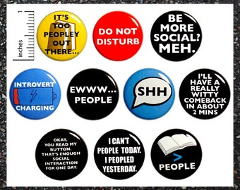 Funny Introvert Buttons Pins for Backpacks or Fridge Magnets, Sarcastic, Gift Set, 10 Pack, Cute 1 Inch 10P2-1