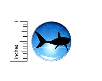 Shark Silhouette Button // Backpack or Jacket Pinback // Awesome Nature Ocean Life Pin // 1 Inch 15-29