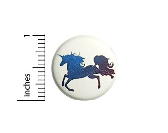 Purple Unicorn Button // Backpack or Jacket Pinback // Believe In Unicorns // Pin 1 Inch 13-2