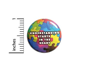 Understanding Starts In The Heart Puzzle Pieces Button // Backpack or Jacket Pinback // Autism Awareness Pin // 1 Inch 10-28