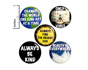 "Positive Saying Buttons 5 Pack of Backpack Pins Lapel Pins Cool Brooches Badges Gift Set Cute Accessories 1"" P17-1"