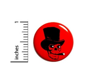 Punk Rock Hardcore Skull Top Hat Cigar Band Jacket Backpack Pin Cool 1 Inch #37-16