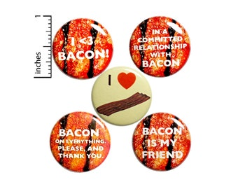 "Bacon Pin for Backpack or Fridge Magnets, Buttons Pins for Jackets, Lapel Pins, I Love Bacon Pin, 5 Pack Gift Set 1"" P46-5"