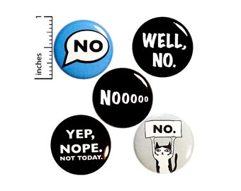 "Sarcastic Buttons 5 Pack of Backpack Pins Lapel Pins No Yep Nope Badges Brooches Sarcastic - Gift Set 1"" #P11-3"