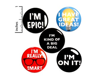 Positive Buttons or Fridge Magnets // Encouraging Pinbacks // Employee Appreciation Gifts // Lapel Pins // 5 Pack // Gift Set 1 Inch P41-4