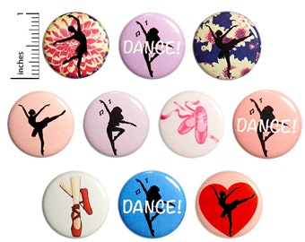 Dance Pins (10 Pack) Dancer Buttons for Backpacks or Fridge Magnets, Ballet Jazz Gift Set 1 Inch 10P3-1
