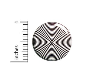 """Spiral Pin Button or Fridge Magnet, Cool Spiral Pin Button, Weird Pin, Hypnosis Style Swirl, Button Pin or Magnet, Black and White 1"""" 87-3"""