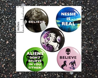 Creature Buttons 5 Pack Aliens Bigfoot Unicorns Backpack Pins Pinback Badges Brooches Lapel Pins or Fridge Magnets Funny 1 Inch P30-2
