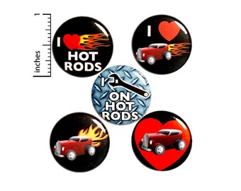 "Hot Rod Buttons or Fridge Magnets // 5 Pack // Backpack Pins // Badges // Lapel Pins // Vintage Cars // Hot Rods Gift Set //  1"" P13-5"
