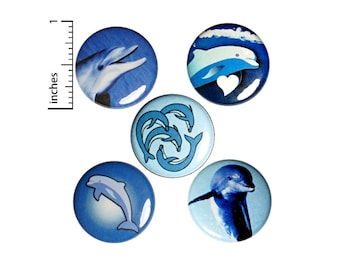 "Dolphin Buttons 5 Pack of Backpack Pins Ocean Beach Coastal Lapel Pins Cool Badges Cute Summer Pinbacks Dolphin Gift Set 1"" E3-3"
