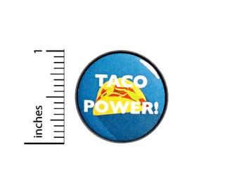 Funny Taco Power Button Random Humor Pin Pinback I Love Tacos I Run On Tacos 1 Inch #26-24