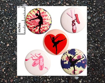 Ballet Buttons Pins Ballerina Dance Dancer Pretty Pink Dancing Girl Flowers Hearts Badges or Fridge Magnets 5 Pack Gift Set 1 Inch P20-4
