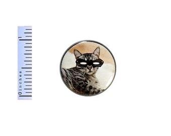 Superhero Cat In Mask Button Random Humor Comic Book Fan Backpack Pin 1 Inch #35-4