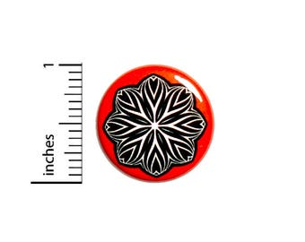 Cool Abstract Zebra Style Flower Black White Red Jacket Backpack Pin 1 Inch #48-24