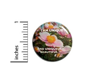 Positive Button // I Am Unique And Uniquely Beautiful Backpack or Book Bag Pinback // Daughter Gift Autism Pin // 1 Inch 10-18