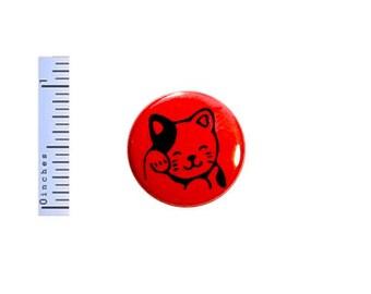 Lucky Cat Button Cute Cartoon Anime Cat Kitten Red Gift Backpack Pin Pinback 1 Inch #24-6