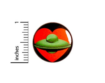 UFO Button // Love UFOs // I Love Aliens // Geeky Pin for Backpacks // Space Badge // Jacket Pinback 1 Inch 94-31