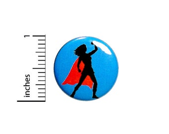 Superhero Super Chick Woman Girl In Cape Girl Power! Awesome Fun Gift 1 Inch #35-22