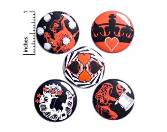 """Alice In Wonderland // Buttons or Fridge Magnets // 5 Pack // Backpack Pins // Brooches // Lapel Pins // Absolem // Gift Set 1"""" SP2-3"""