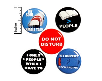 "Introvert Button 5 Pack of Backpack Pins Lapel Pins Cool Brooches Badges Introvert Friend Gift Sarcastic Funny Introvert Humor Gift 1"" P15-4"