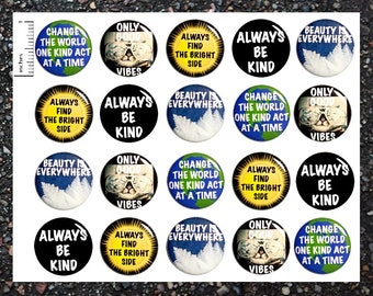 Positive Buttons, 20 Pack, Kindness Pinback Buttons, Fun Buttons, Pin Back Buttons or Magnets, Classroom Pins, Positive Quote Pins 20P17-1