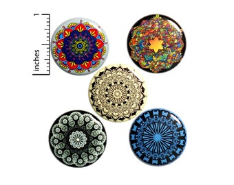 "Mandala Backpack Pin 5 Pack of Buttons or Fridge Magnets Little Gift Peace, Harmony, Circular Designs, Cool, Gifts for Friends 1"" #P19-3"